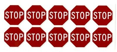 Stop Sign Stickers 10 Decals 1.5 Octagon Shape Outdoor Durable
