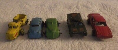 Vintage Lot Of 5 Tootsietoy Red Blue Green Car Tank Yellow Dump Truck