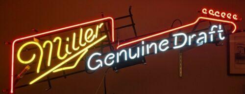 "Miller Genuine Draft Guitar style NEON SIGN 12 1/2"" x 50"" sharp Beer sign"