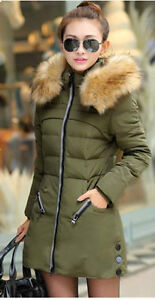 Manteau duvet de canard blanc,Collet simili fourrure,Down Coat