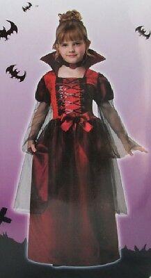 Rot Vampirin Mädchen Kostüm Klein 4-6 Komplette Vampir Gothic Kind Kinder - Vampir Mädchen Kinder Kleinkind Kostüm