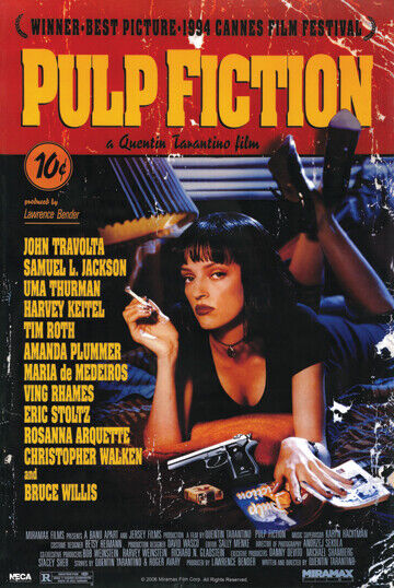 Pulp Fiction Movie Poster 24 x 36 Quentin Tarantino Uma Thur
