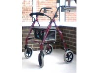 4-Wheeled Mobility Walker with seat, brakes and bag - As New