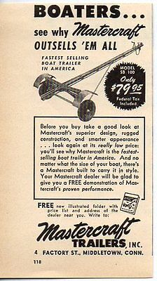 1952 Vintage Ad Mastercraft Boat Trailers Middletown,CT