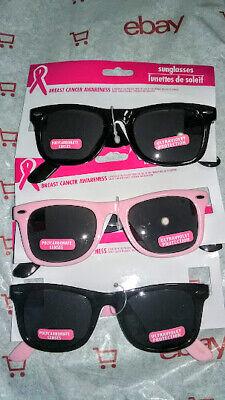 SUNGLASSES ☆☆ (3) PAIR BREAST CANCER AWARENESS ☆☆ BLACK PINK BCA RIBBON (Breast Cancer Sunglasses)