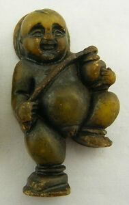 Chinese Decorated Green Jade Dancing Boy with Drum Pendant