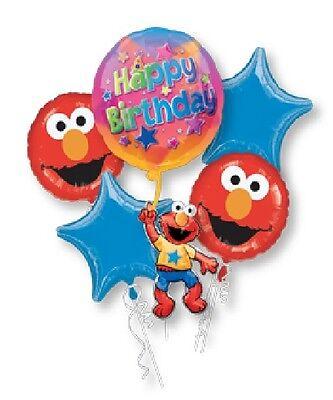 ELMO Sesame Street (5) Piece Birthday PARTY Helium Mylar Foil BALLOONS Set - Elmo Helium Balloons