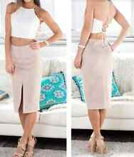 SHOWPO FAUX SUEDE NUDE MIDI PENCIL SKIRT WITH FRONT SPLIT Sylvania Sutherland Area Preview
