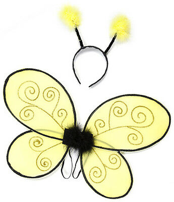 Toddler Bumble Bee Wings With Headband Dance Halloween Costume, Yellow/Black - Halloween Costume With Wings