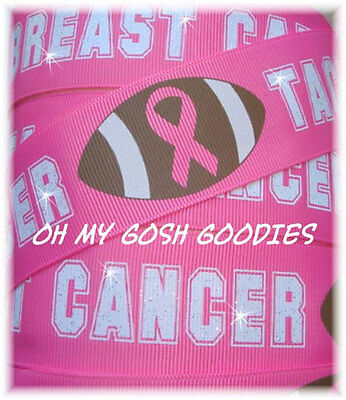Breast Cancer Awareness Bows (1.5 BREAST CANCER AWARENESS TACKLE FOOTBALL GLITTER GROSGRAIN RIBBON CHEER 4)