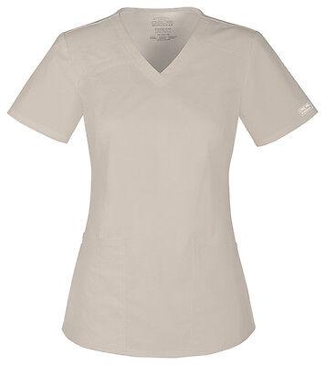 Cherokee Workwear Scrubs Short Sleeve Top 4710 KAKW Khaki Free Shipping