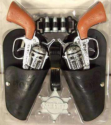 COMPLETE DOUBLE WESTERN HERO PLAY GUN SET toy guns holster belt cowboy sheriff