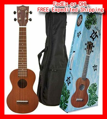 KIWAYAKSU-1LSoprano long neck ukulelewith soft case mahogany plywood NEW