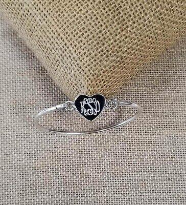 Silver Baby,Children (Newborn to 9 year old)  Heart Monogram Bracelet,