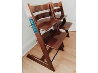 2 x TRIPP TRAPPS IN WALNUT COLOUR (ONE IS BRAND NEW)
