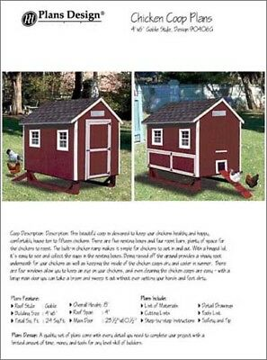 4 X 6 Chicken Coop Plans Gable Roof Style Material List Included 90406g