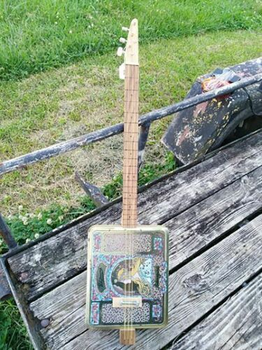 Whitmans Sampler Metal Cigar Box Style Guitar