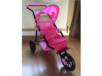 Hello Kitty Pink 3 Wheel Dolls Pushchair