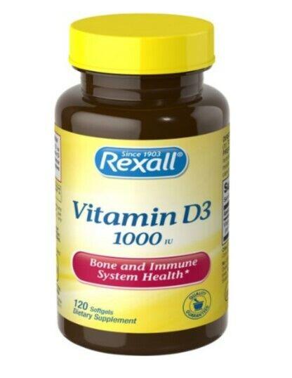 Vitamina D3 Diaria 1000IU 25mcg Hueso Diente Sistema Inmune 120-CT SAME-DAY SHIP