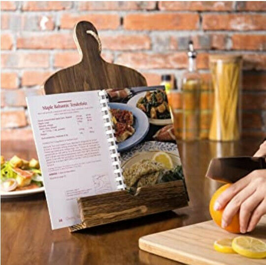 Cutting Board Style Rustic Brown Wood Recipe Cookbook Holder Stand