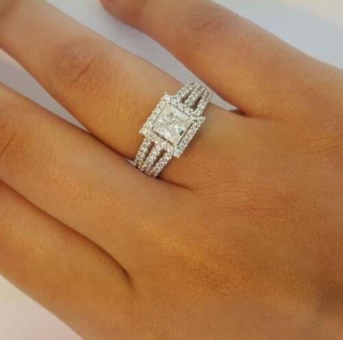 14k Solid White Gold 1.5 Ct Princess Cut Diamond Engagement Wedding Ring