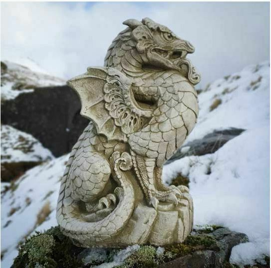 Scaly Dragon Statue Reconstituted, Stone Dragon Garden Ornaments Uk