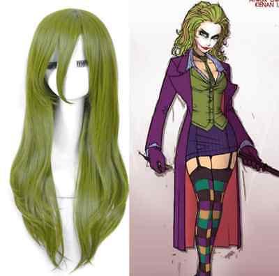 Batman Female Joker cosplay wig long straight green Synthetic hair full Wig+cap - Female Batman Cosplay