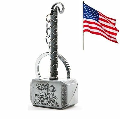 US Ship Marvel The Avengers Thor Thor's Hammer Metal Keyring Keychain Silver