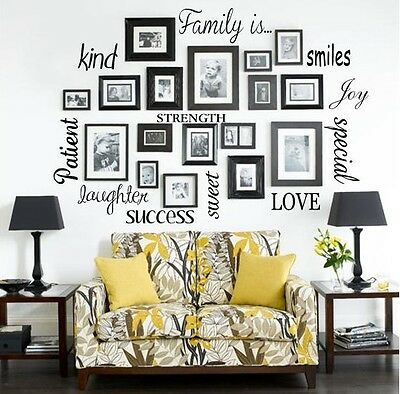 - FAMILY IS Vinyl Lettering Words Wall Art Quote Sticky Decals Sticker Decor