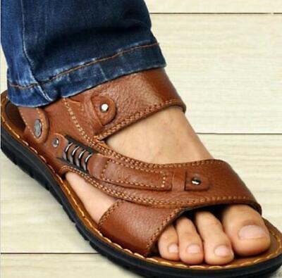 Mens roma gladiator Casual leather slip on fisherman sandal slipper beach - Gladiator Men