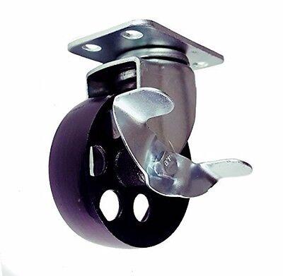 Cast Iron Swivel Plate Caster Wheels Brake Rigid Heavy Duty 300lb Rated Capacity