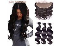 7A Indian virgin body wave hair extensions - 3 bundles 14'' with closure 12''