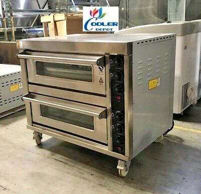 New Commercial Electric Double Pizza Oven Bakery Pizzeria Cooker Wings 220v