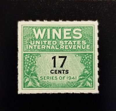 1951 17c U.S. Internal Revenue, Cordial & Wine, Green Scott RE186 Mint NH