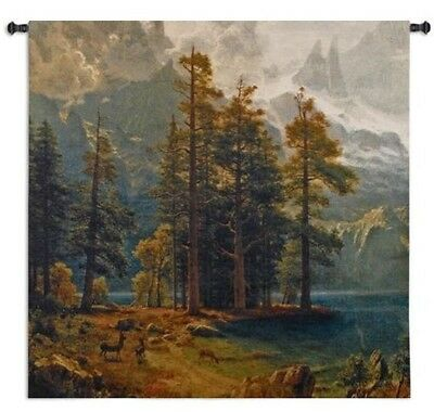 MOUNTAINS DEER COUNTRY LANDSCAPE LODGE ART TAPESTRY WALL HANGING 52x53