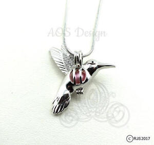 Bird cage necklace ebay pick a pearl cage silver plated hummingbird bird flying locket charm necklace mozeypictures Image collections