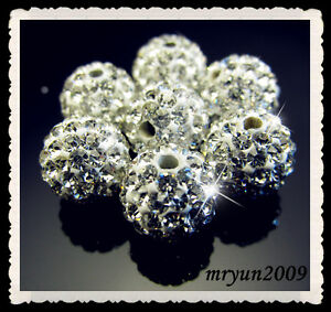 FREE-4PCS-Clear-Rhinestone-Crystal-Pave-Disco-Ball-Spacer-Bracelets-Beads-10mm