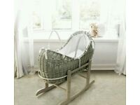 Kinder valley Grey pod wicker moses basket with white Waffle bedding & FREE ROCKING stand grey