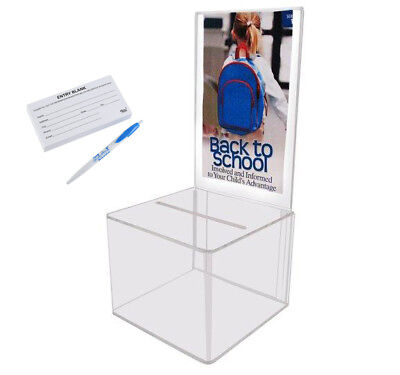 MCB Clear Acrylic Display Suggestion & Donation Box with suggestion cards & Pen
