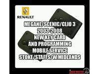 RENAULT MEGANE SCENIC CLIO NEW KEY CARD AND PROGRAMMING SERVICE MOBILE STOKE STAFFS