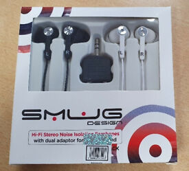 Smug Design Twin Pack Hi-Fi Stereo Earphones with Dual Adaptor for Shared Sound Brand New