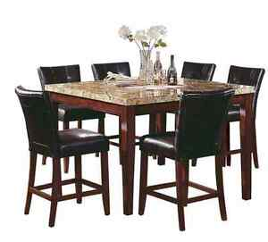 Counter-Height Marble Top Dining Room Table