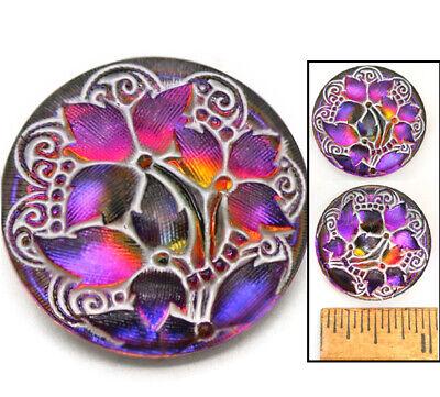 27mm Vintage Czech Glass Purple RAINBOW Flash AB Lace IVY Leaf Flower Buttons 2p - Cheap Buttons