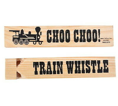 5 NEW WOODEN TRAIN WHISTLES WOOD WHISTLE ABOUT 6