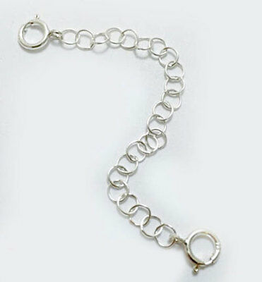 3mm Solid Sterling Silver Round Link Extender Safety Chain Necklace Bracelet   ()