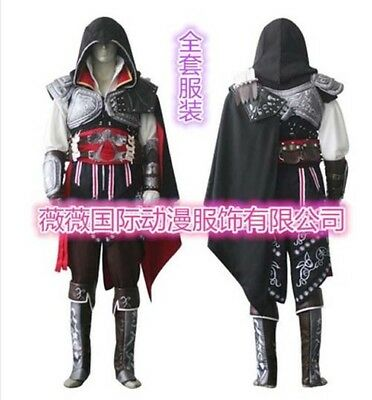Assassin's Creed 2 Ezio Cosplay Costume Halloween Party Mens full Outfit suits - Assassin Creed Suits