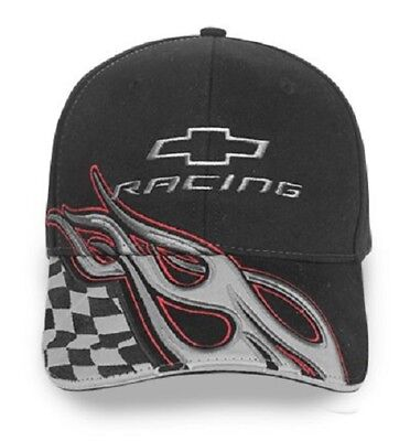 (Chevrolet Racing Flames Checkered Flag Baseball Hat Ball Cap Black w/ Silver)