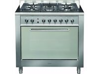 Indesit Dual Fuel Range Cooker - 90cm, stainless steel, great condition