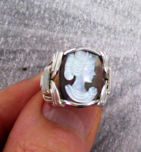Vintage Black Shell Cameo Ring  in Sterling Silver Wire Wrapped Size 5 to 15
