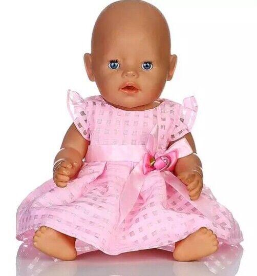 Puppenkleidung, Kleid, rosa, 43 cm, zb. Baby Born/Sister, NEU